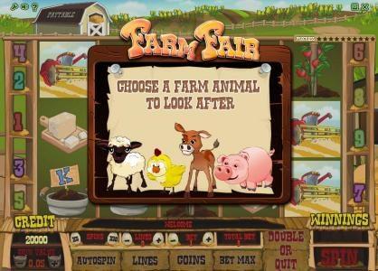 Farm Fair :: choose a farm animal to look after