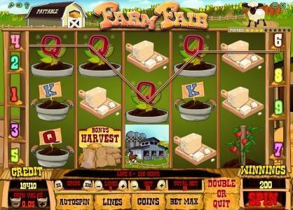 Farm Fair :: four of a kind triggers a 400 coin jackpot