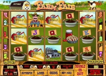 Farm Fair :: multiple winning paylines triggers a 600 coin big win