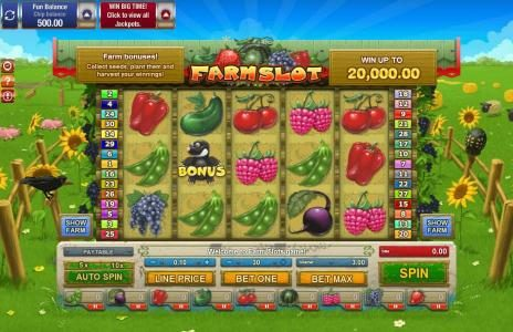 AdamEve featuring the Video Slots Farm Slot with a maximum payout of $20,000