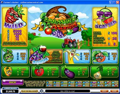 Casino Lucky Win featuring the video-Slots Farmer's Market with a maximum payout of $250,000
