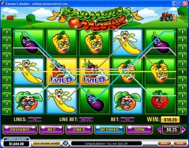 Slots Heaven featuring the video-Slots Farmer's Market with a maximum payout of $250,000