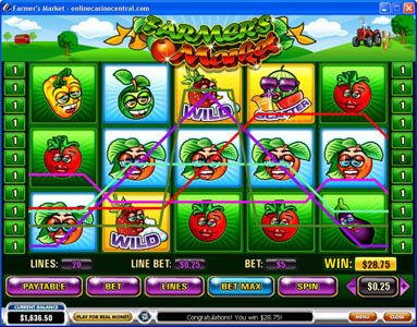 Sky Kings featuring the video-Slots Farmer's Market with a maximum payout of $250,000