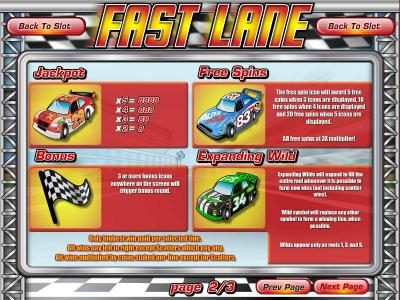 Supernova featuring the Video Slots Fast Lane with a maximum payout of $22,220