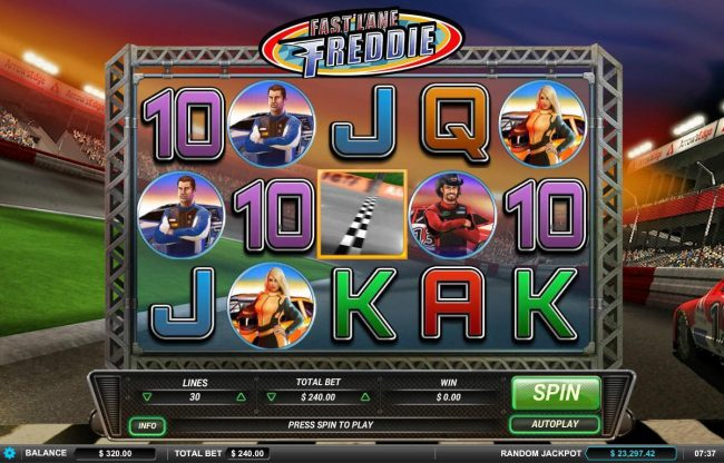 Drake featuring the Video Slots Fast Lane Freddie with a maximum payout of $4,500