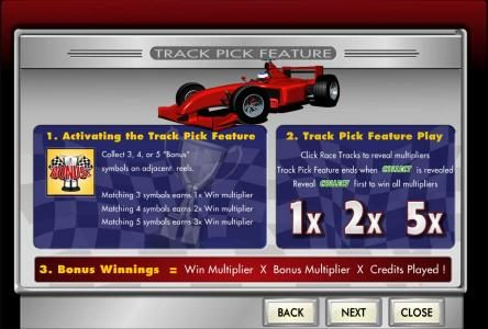 Prime Slots featuring the Video Slots Fast Track with a maximum payout of $62,500