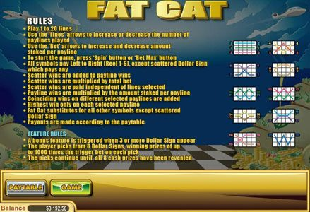 Play slots at Lincoln: Lincoln featuring the Video Slots Fat Cat with a maximum payout of $50,000