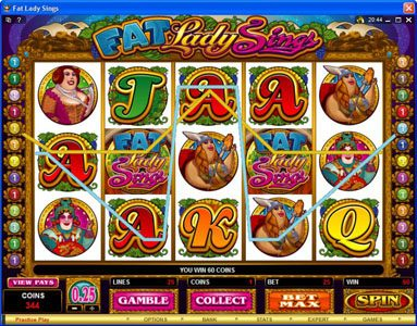 Players Palace featuring the Video Slots Fat Lady Sings with a maximum payout of $7,500