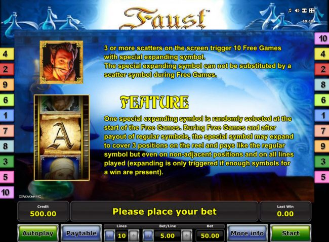 Casumo featuring the Video Slots Faust with a maximum payout of $25,000