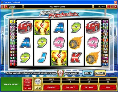 Vegas Spins featuring the Video Slots Fearless Frederick with a maximum payout of $14,000