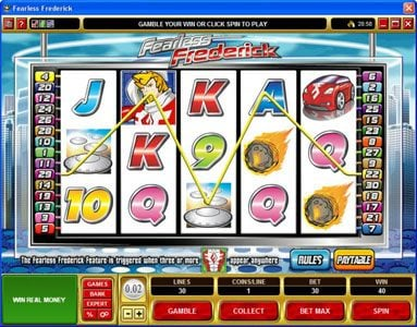 Monaco Aces featuring the Video Slots Fearless Frederick with a maximum payout of $14,000