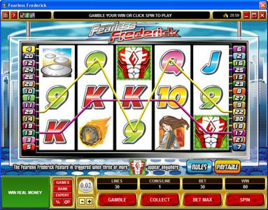 Casino Kingdom featuring the Video Slots Fearless Frederick with a maximum payout of $14,000