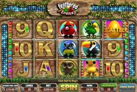 Dream Vegas featuring the Video Slots Feathered Frenzy with a maximum payout of $25,000