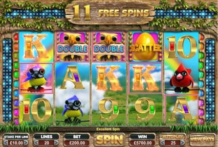 Spin Prive featuring the Video Slots Feathered Frenzy with a maximum payout of $25,000