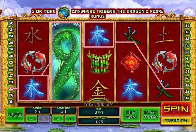 Fei Long Zai Tian :: Stacked wild symbol triggers a 90.00 payout.