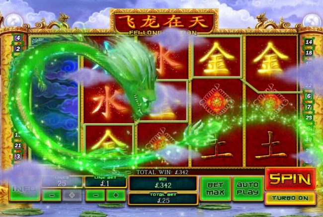 William Hill Casino Club featuring the Video Slots Fei Long Zai Tian with a maximum payout of $50,000