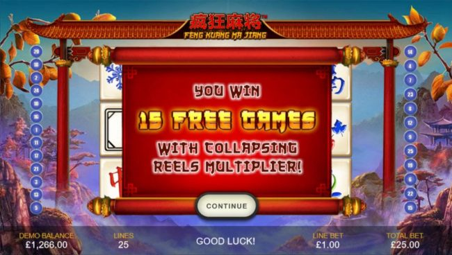 15 free games with collapsing reels multiplier!
