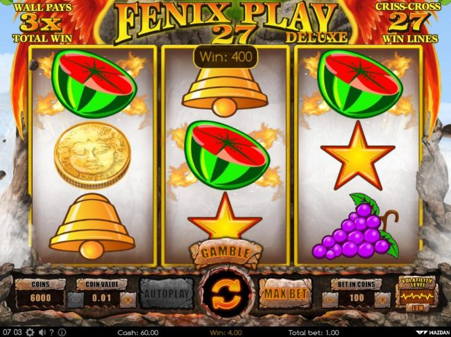 Kingbit Casino featuring the Video Slots Fenix Play 27 Deluxe with a maximum payout of $112,000