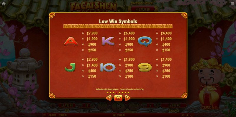 Fa Cai Shen Deluxe :: Paytable - Low Value Symbols