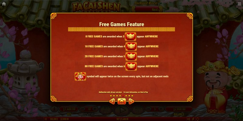 Fa Cai Shen Deluxe :: Free Spin Feature Rules