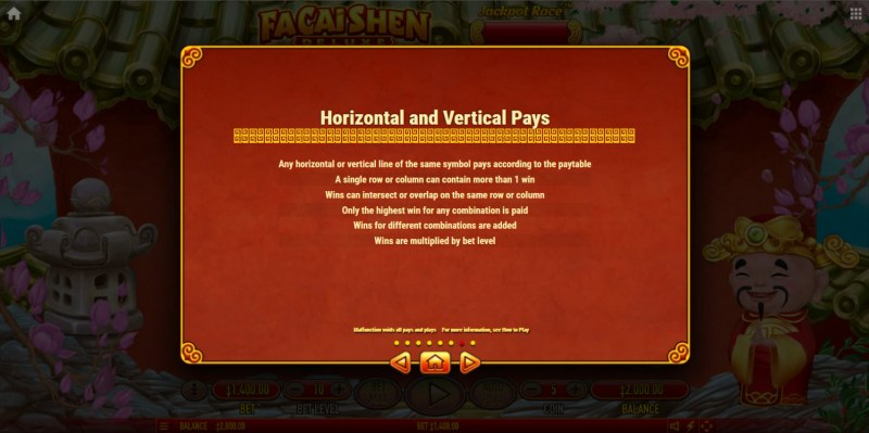Fa Cai Shen Deluxe :: Horizontal and Vertical Pays