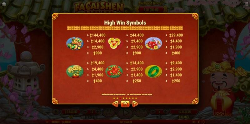 Fa Cai Shen Deluxe :: Paytable - High Value Symbols