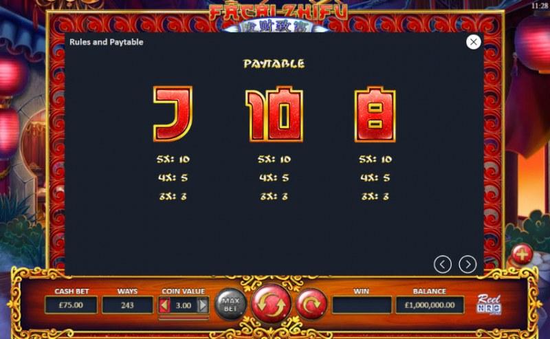 Fa Cai Zhi Fu :: Paytable - Low Value Symbols
