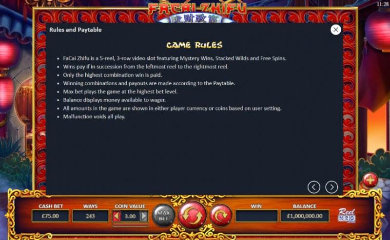 Fa Cai Zhi Fu :: General Game Rules