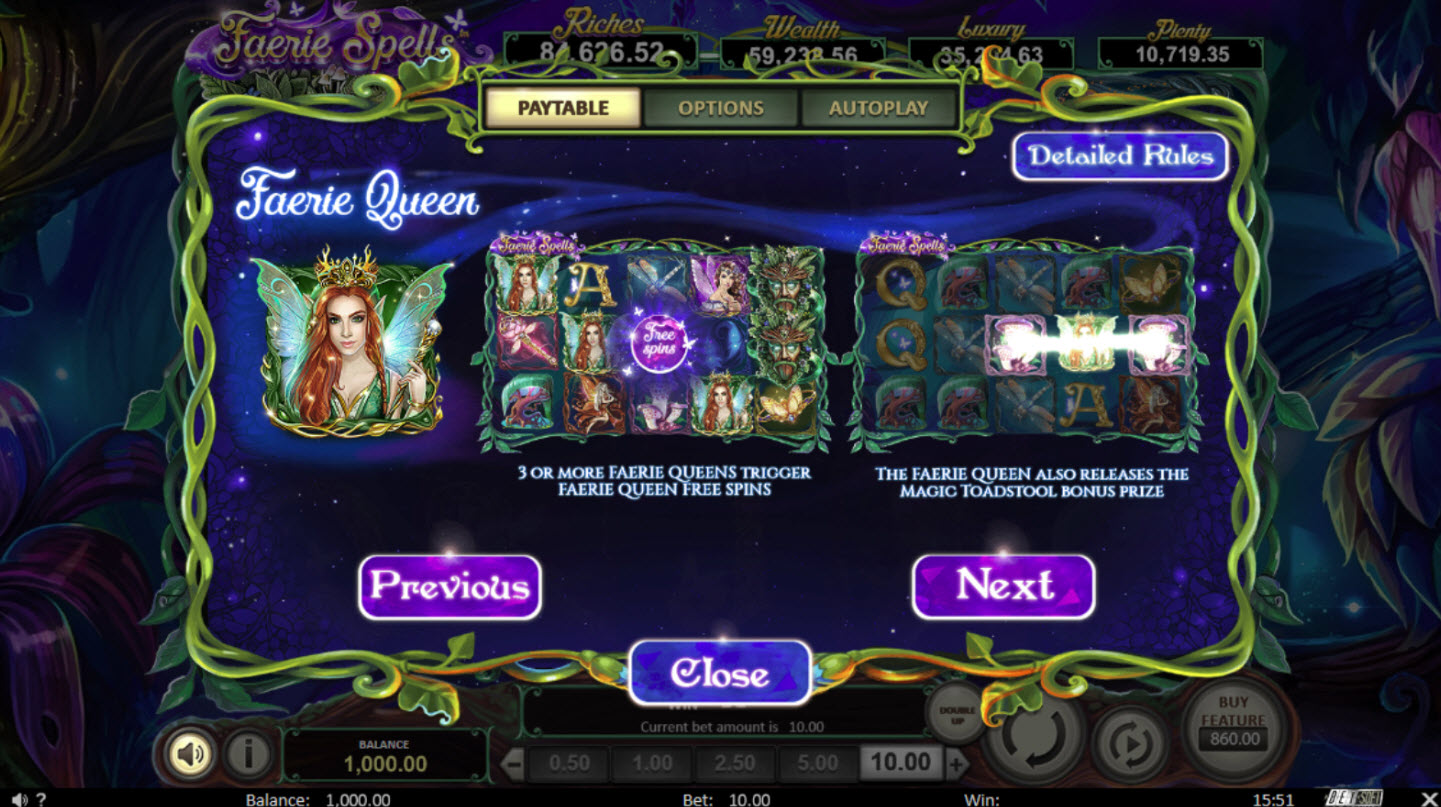 Play slots at Bella Vegas: Bella Vegas featuring the Video Slots Faerie Spells with a maximum payout of Jackpot