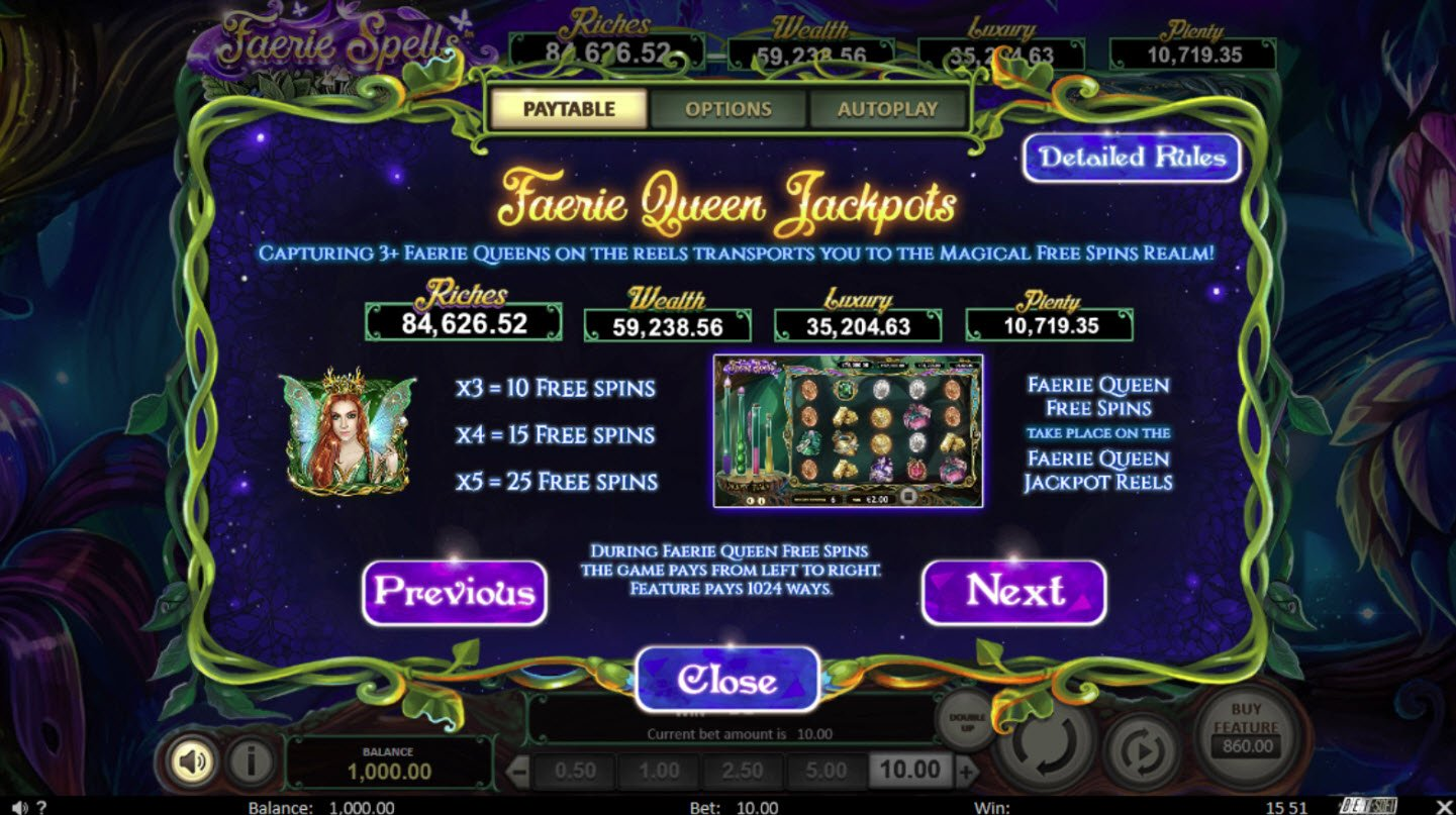 Play slots at Betchain: Betchain featuring the Video Slots Faerie Spells with a maximum payout of Jackpot
