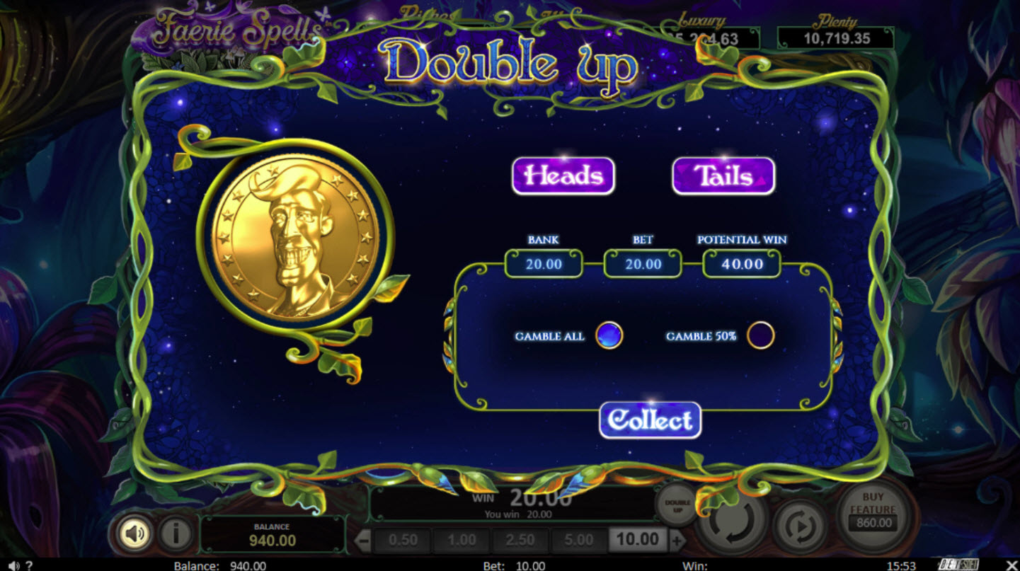 Play slots at Jupiter Club: Jupiter Club featuring the Video Slots Faerie Spells with a maximum payout of Jackpot