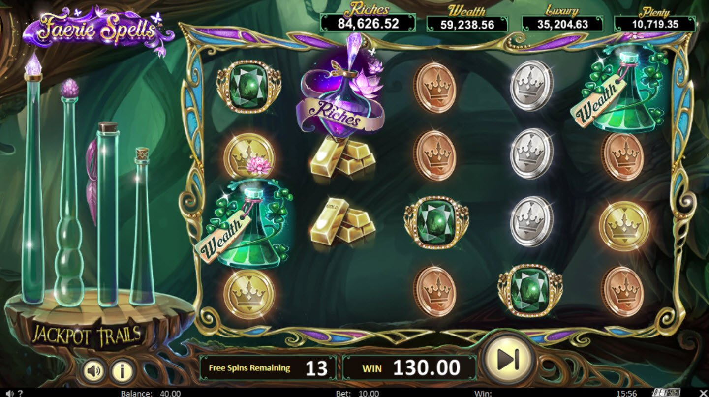 Play slots at BetOnline: BetOnline featuring the Video Slots Faerie Spells with a maximum payout of Jackpot