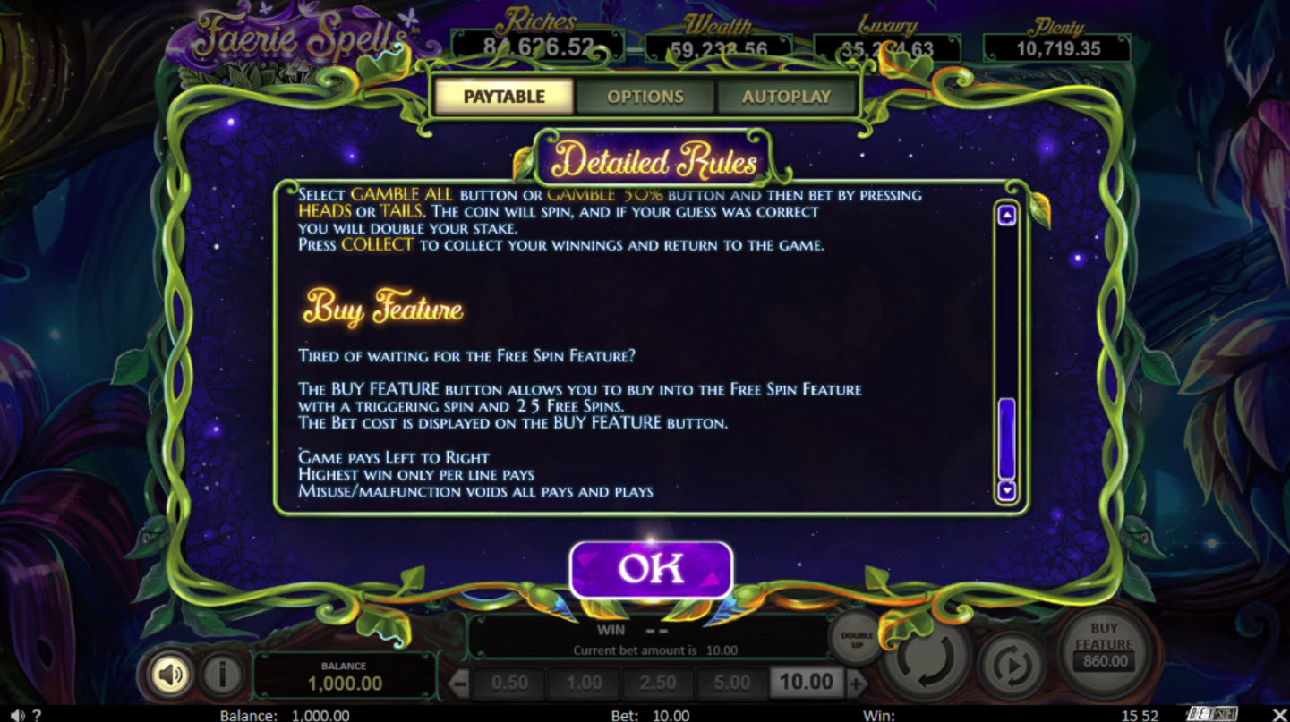 Play slots at Slots LV: Slots LV featuring the Video Slots Faerie Spells with a maximum payout of Jackpot