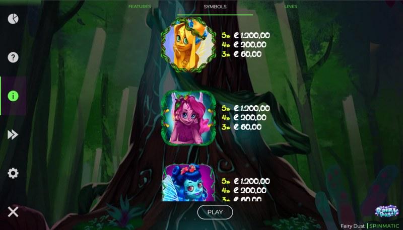 Fairy Dust :: Paytable - High Value Symbols