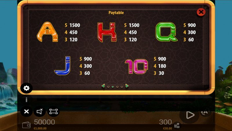 Fairy's Golden Path :: Paytable - Low Value Symbols