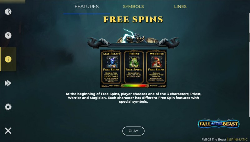 Fall of the Beast :: Free Spin Feature Rules