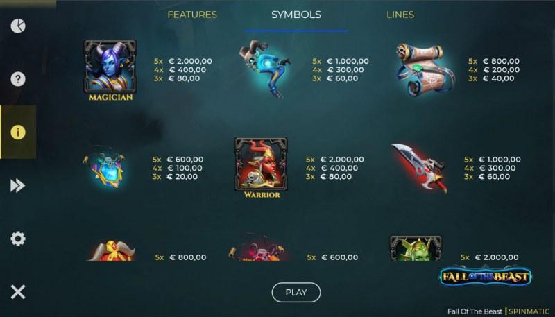 Fall of the Beast :: Paytable - Medium Value Symbols
