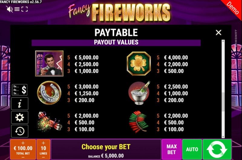 Fancy Fireworks :: Paytable - High Value Symbols