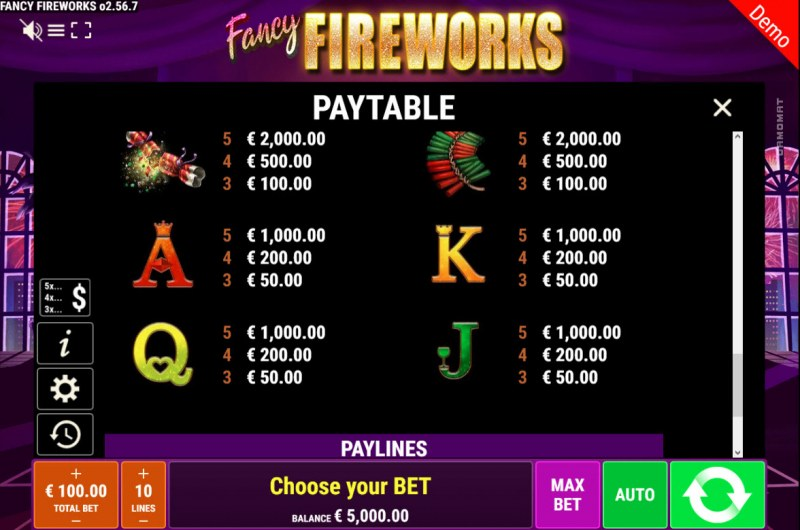 Fancy Fireworks :: Paytable - Low Value Symbols
