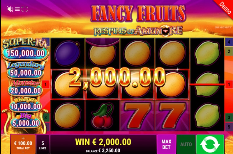 Fancy Fruits Respins of Amun Re :: Big Win