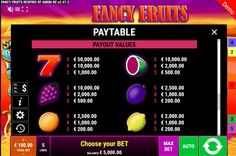 Fancy Fruits Respins of Amun Re :: Paytable
