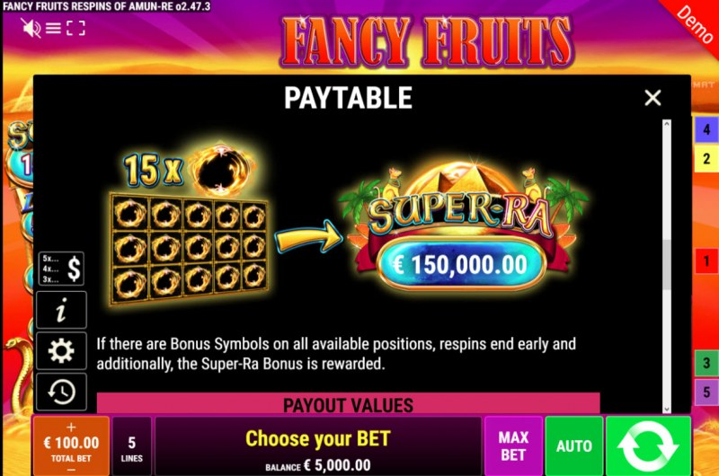 Fancy Fruits Respins of Amun Re :: Jackpot Rules