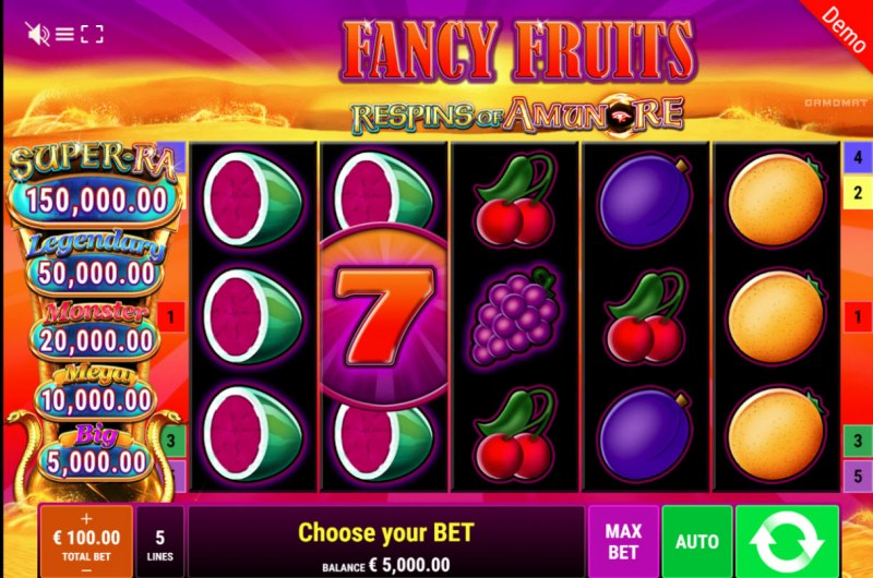 Fancy Fruits Respins of Amun Re :: Main Game Board