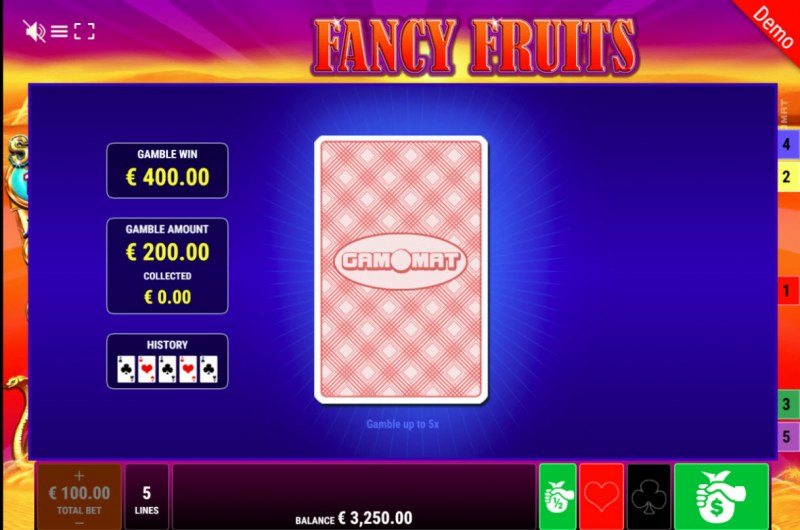 Fancy Fruits Respins of Amun Re :: Black or Red Gamble Feature