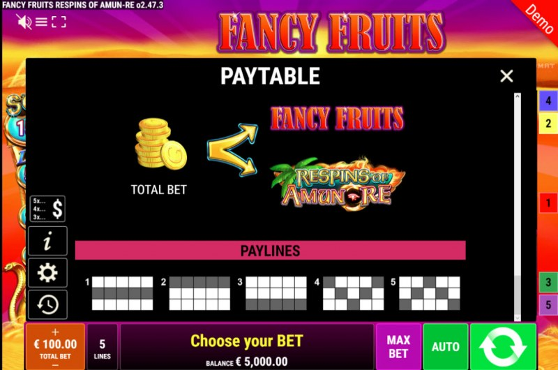 Fancy Fruits Respins of Amun Re :: Paylines 1-5