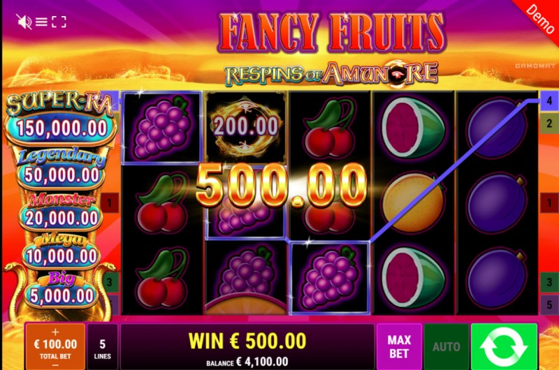 Fancy Fruits Respins of Amun Re :: Three of a kind