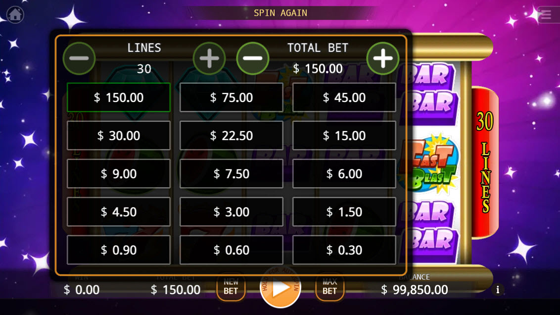 Fast Blast :: Available Betting Options