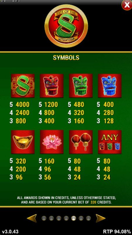 Fate of the 8 Power Wheel :: Paytable