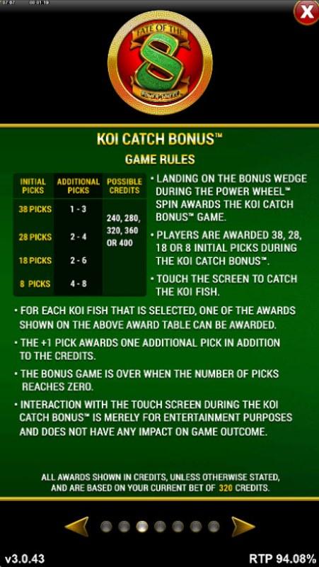 Fate of the 8 Power Wheel :: Koi Catch Bonus