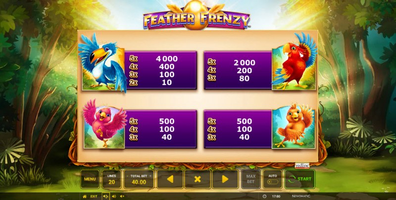 Feather Frenzy :: Paytable - High Value Symbols